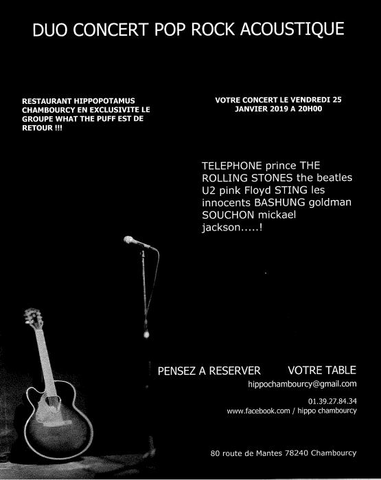 Vendredi 25 Janvier à 20h00 venez assister à un Duo Concert Pop Rock Acoutique